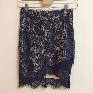 Doublewoot navy lace skirt