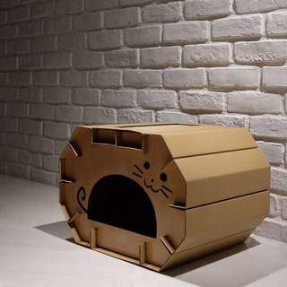 """Cave"" Cat Corrugated Board House"