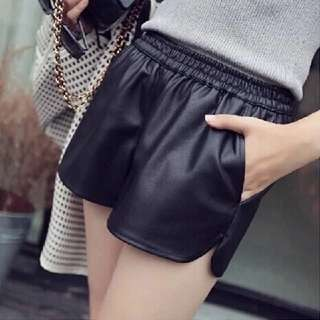 PU black shorts
