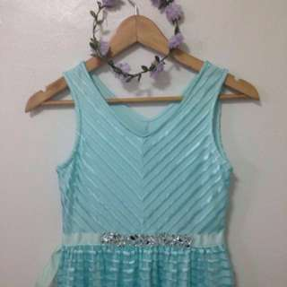 Blue green dress with shinywaist accents #iwantllaollao