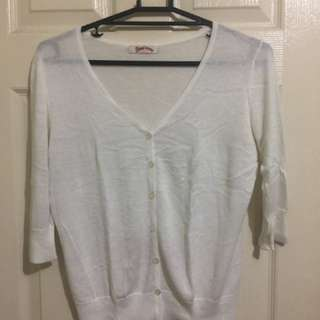 Band-anna 3/4 Sleeves Cream Cardigan