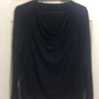 Black Long sleeves blouse, Cowhead neckline