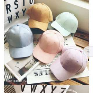 Candy Colour Faux Suede Baseball Cap