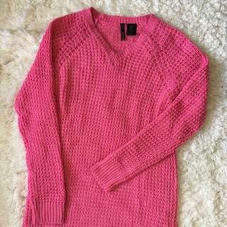 Hot Pink V-neck Sweater