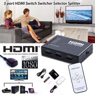 3IN1 5IN1 PORT HDMI SWITCH SWITCHER 1080P SUPPORTS 3D IR WIRELESS REMOTE