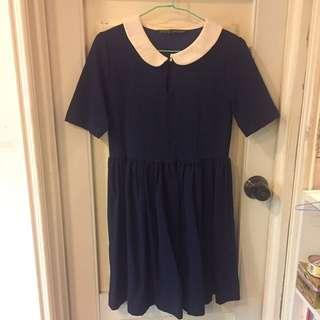Zara 深藍色及膝洋裝