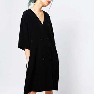 Monki V Button Black Dress