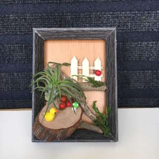 Handmade decorative photo frame with air plant and miniature figurines.Ideal as gift for birthday, desktop display etc.Frame size 3R with foldable back stand (Does not come with gift box) *air plant used in the display may differ