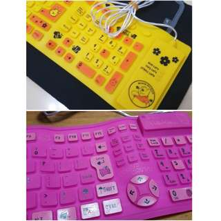 Silicone Keyboard (Foldable) in Pooh Yellow and Kitty Pink