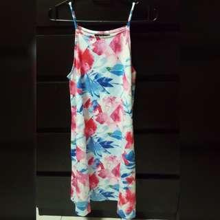 Dress - red blue flare printed cut
