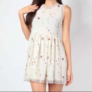 Ditsy florals organza Embroidered mesh cream dress