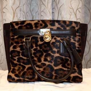 Michael Kors Hamilton Traveler Leopard Hair Calf Large Satchel