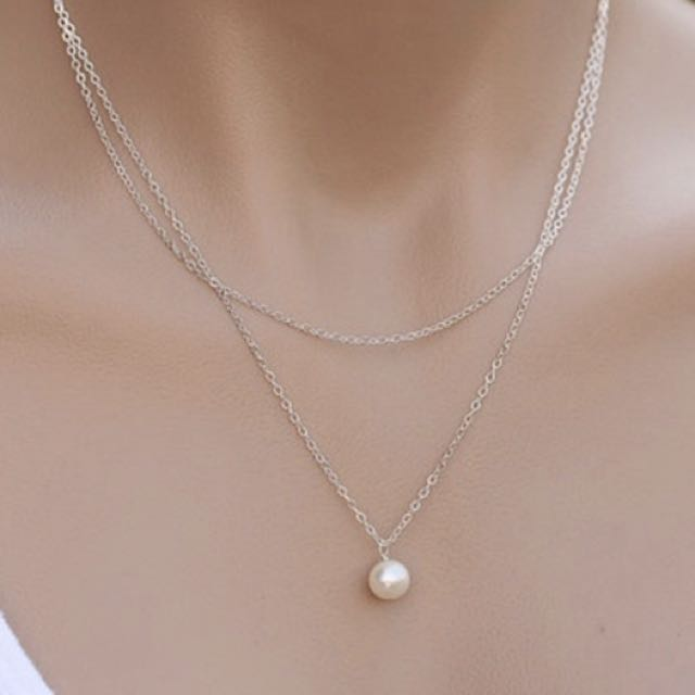 2 layer silver pearl necklace