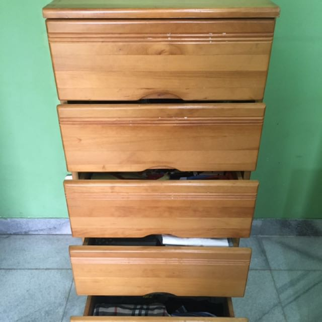 5 Drawers Cabinet solid Pinewood