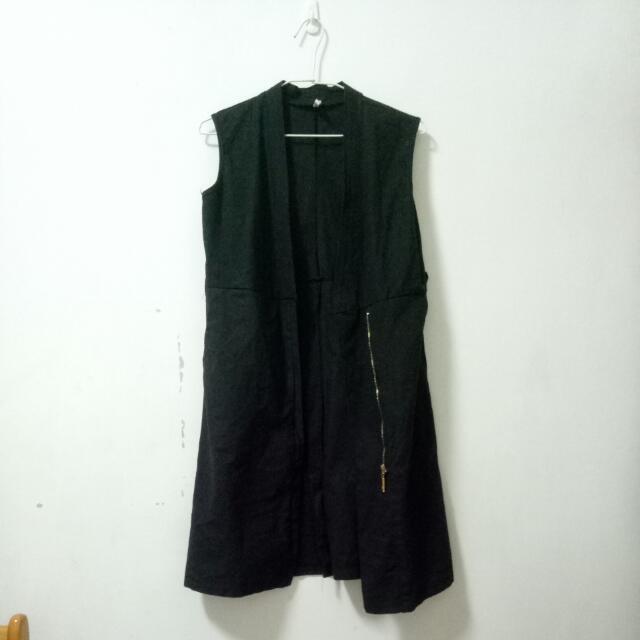 黑色長版背心外套洋裝(兩穿式)