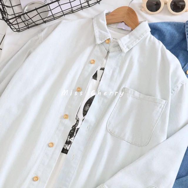 寬鬆復古水洗牛仔襯衫