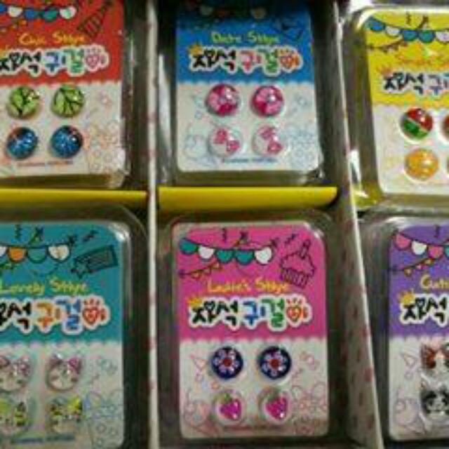 韓國 兒童甜美立體耳環磁貼