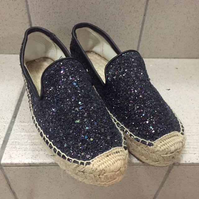 深藍亮片鞋 草編鞋