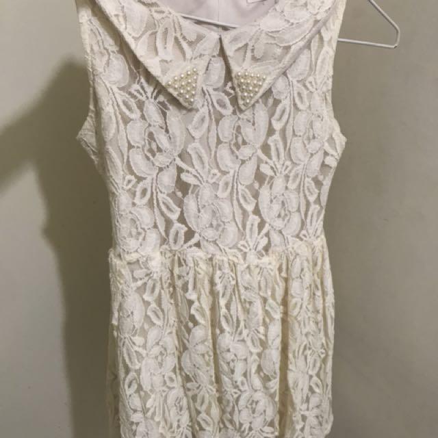 蕾絲米白色無袖洋裝無袖上衣背心洋裝氣質可愛日系珍珠領a字裙 傘狀洋裝
