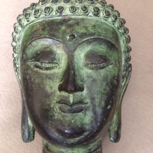 Antique Solid Brass Buddha Head