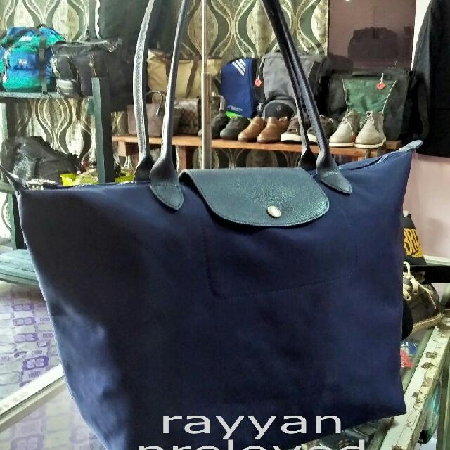 005542f0a702 Authentic LONGCHAMP Navy Nylon Canvas Le Pliage Neo Tote Bag ...