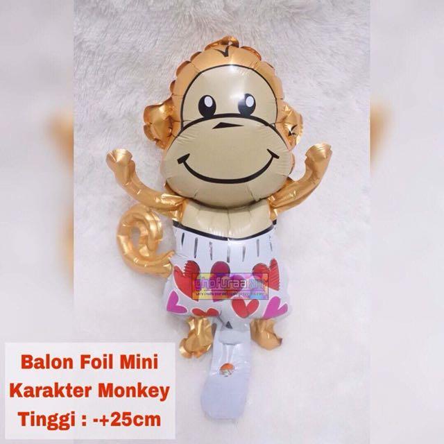 Balon foil karakter Monyet - souvernir dekorasi ulang tahun