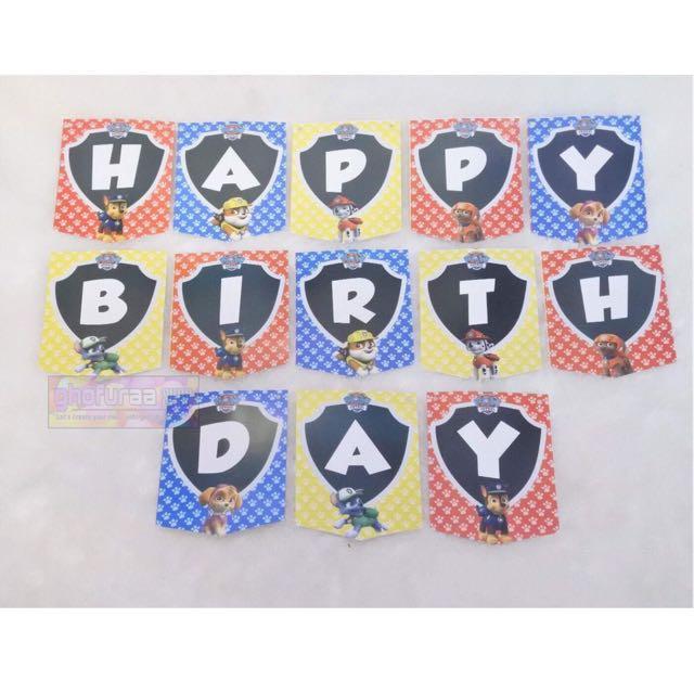 Banner Paw Patrol - Bunting flag Happy Birthday Karakter - dekorasi ulang tahun