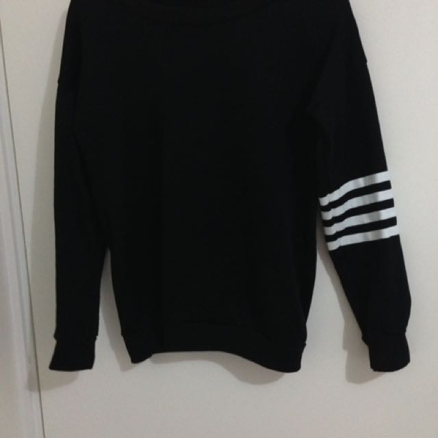 Black Jumper With Striped Sleeve