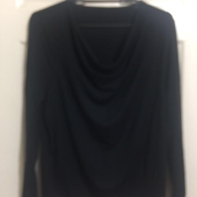 Black Long sleeves blouse, Cowhead neckline