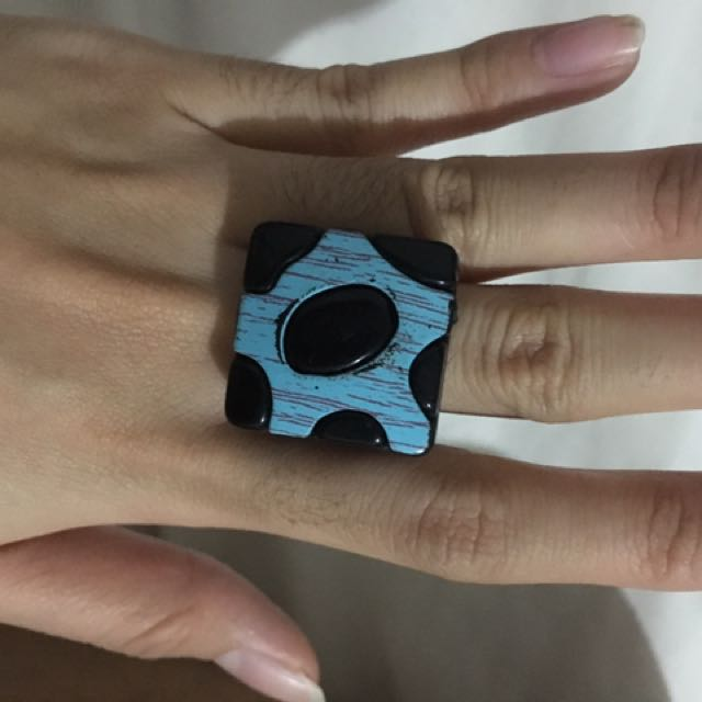 Blue Polka Dot Square Ring (plastic)