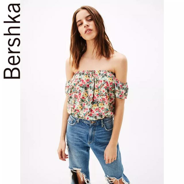 64f8ca6ed29085 BNWT BERSHKA FLORAL OFF SHOULDER ELASTIC TOP, Women's Fashion, Clothes, Tops  on Carousell