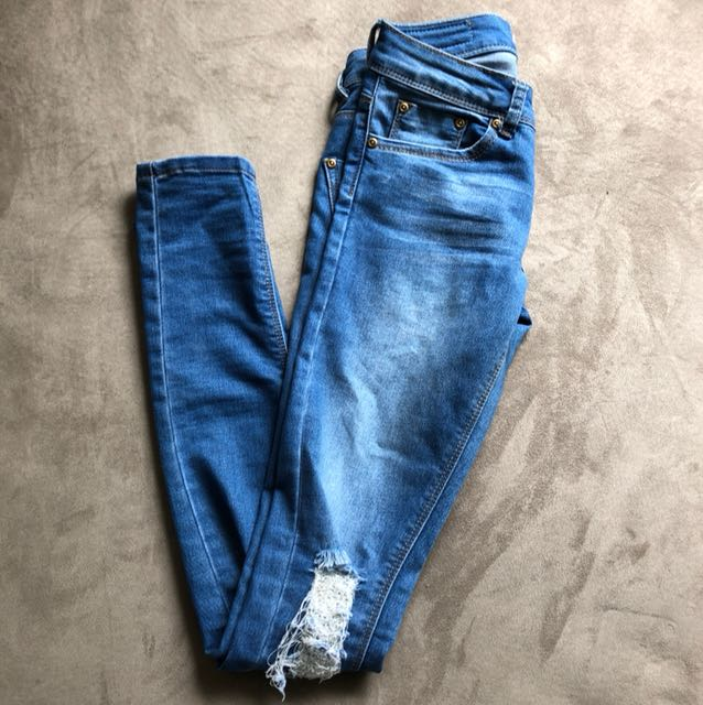 Boohoo Sz6 Low Rise Skinny Ripped Distressed Jeans