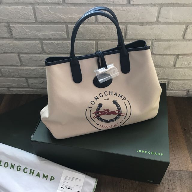 Brand New Limited Edition Longchamp Canvas Leather Shoulder Tote Bag ... 6be59be8c113a