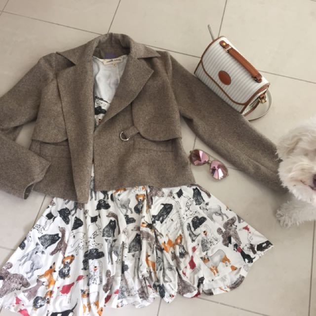 Brown jacket - dog dress ($15)