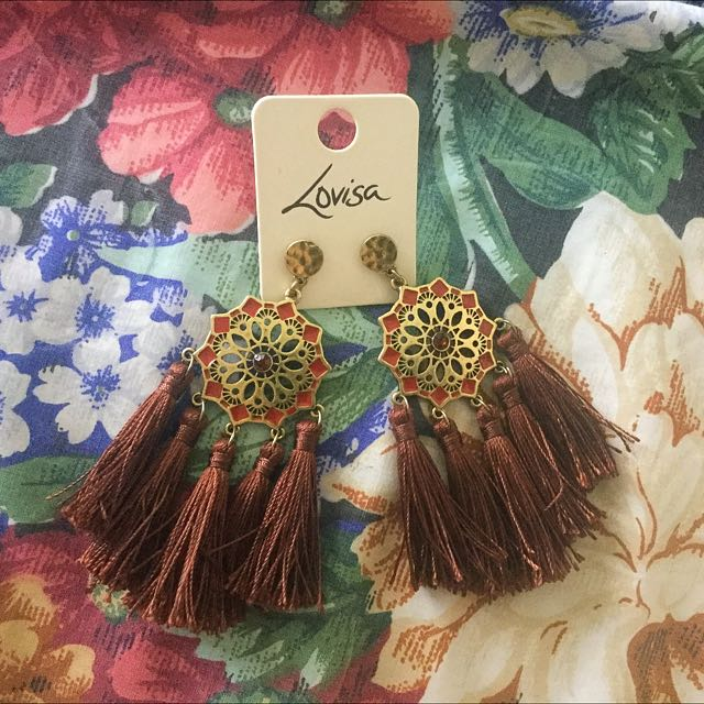 Brown Large Tasseled Earrings