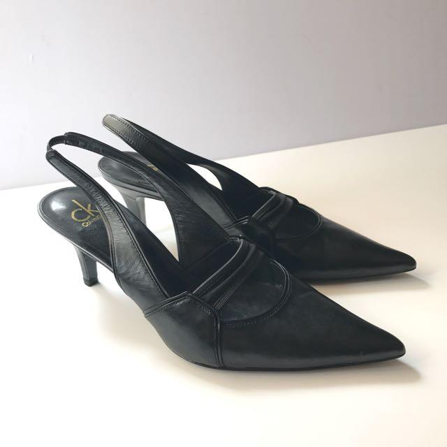 ck Calvin Klein pointy toe low heel sling back pumps