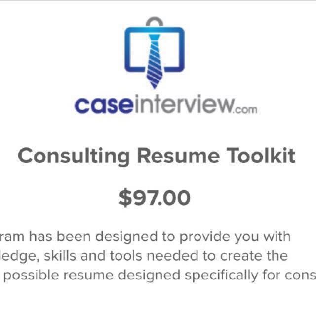 Consulting Resume Toolkit Victor Cheng LOMS, Books & Stationery ...