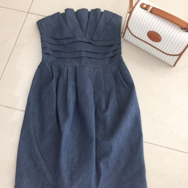 Denim dress with pockets