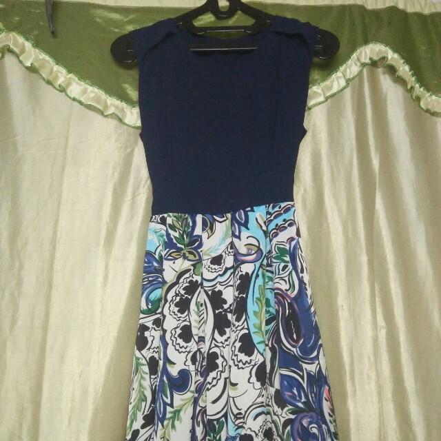 Dress blue bawahan corak cantik