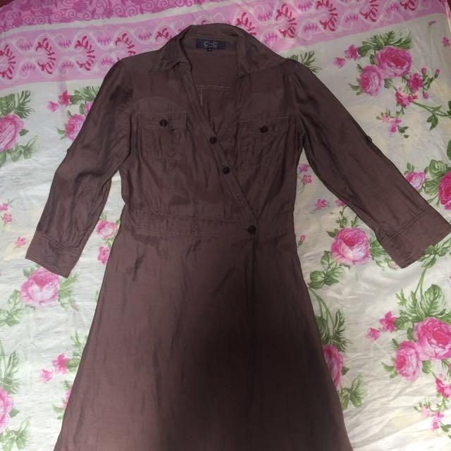 Dress kemeja coklat