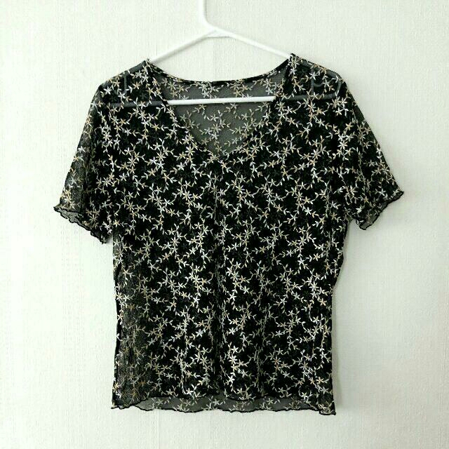 Embroidered Mesh Tee