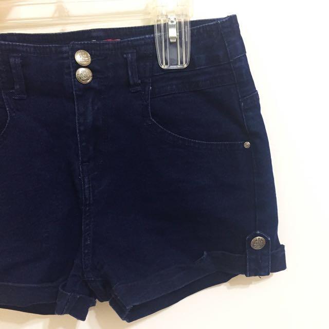 ESP專櫃深藍高腰彈性牛仔短褲