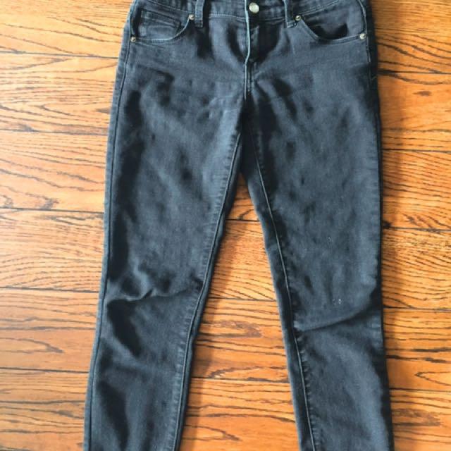 F21 black jeans with raw hem