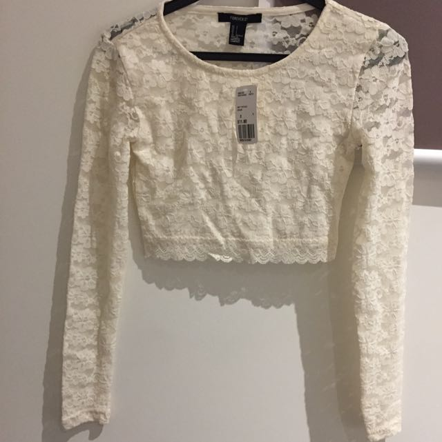 Forever 21 Lace Cream Crop Top