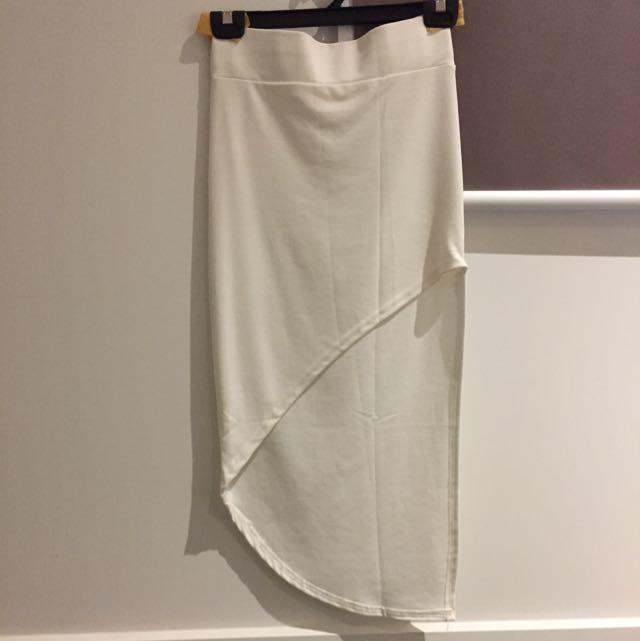 Free Sized White Assymetrical Skirt