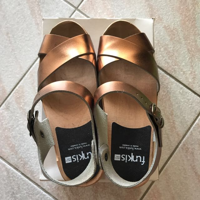FUNKIS 667 Low Mia Gold Clogs Size 37