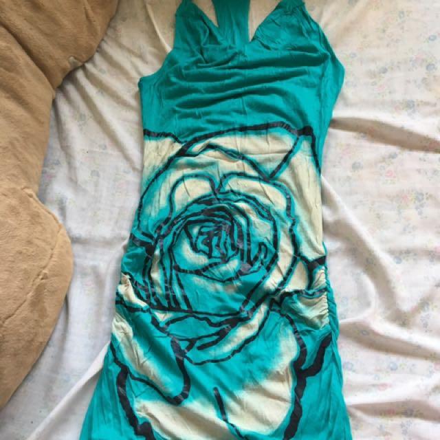 Green stretch cotton dress