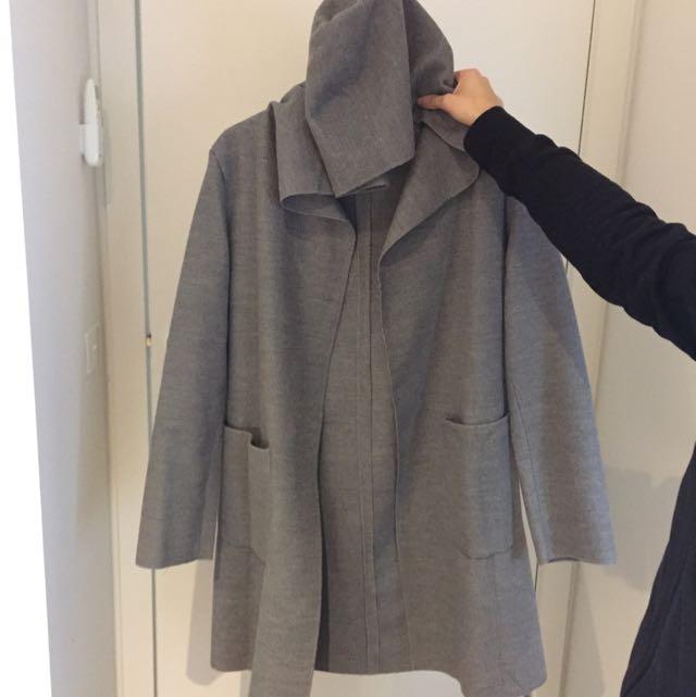 Grey Hooded Coat