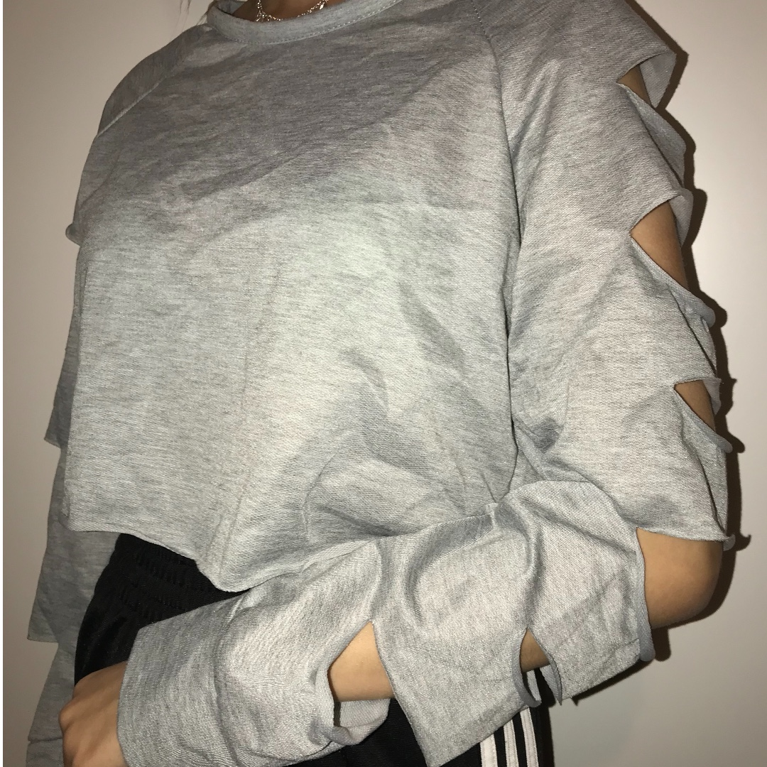 Grey Ripped Cropped Top / Jumper