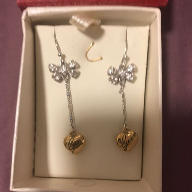 Guess bow and heart earrings